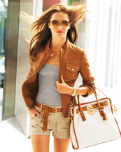 MK Leather Motorcycle Jacket and Hamilton Canvas Tote